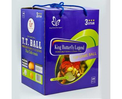 Набір м'ячів для настільного тенісу 100 штук в кольоровий картонній коробці BUT MT-8396 3star (d-40мм, білий, жовтий) Replica