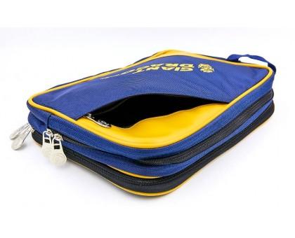 Чохол на ракетку для настільного тенісу Giant Dragon MT-6547-Y (поліестер, р-р 31х20х7см, для 2-х ракеток, синій-жовтий)