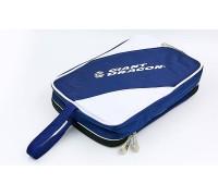 Чехол на ракетку для настольного тенниса Giant Dragon MT-6547-W (полиэстер,р-р 31х20х7см, для 2-х ракеток, синий-белый)