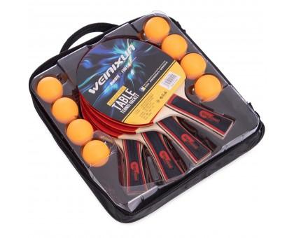 Набір для настільного тенісу 4 ракетки, 8 м'ячів з чохлом WEINIXUN MT-350