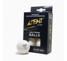 М'ячi для настільного тенісу Atemi 3* 6шт білі 40+