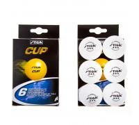 Кульки для настільного тенісу Stiga Cup 3 *, 6 шт, білий, C-6
