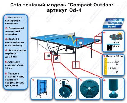 """Стіл тенісний """"GSI-sport"""", модель """"Compact Outdoor"""", артикул Od-4"""